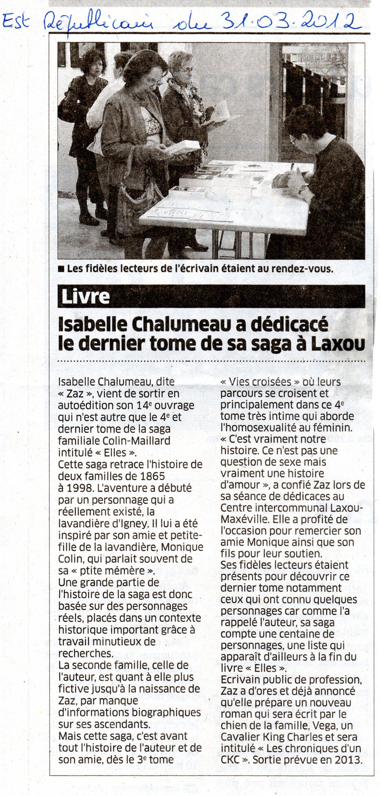 Article de l'Est Républicain du 31 mars 2012 dans Coupures de presse Isa-Laxou-CILM-2012001