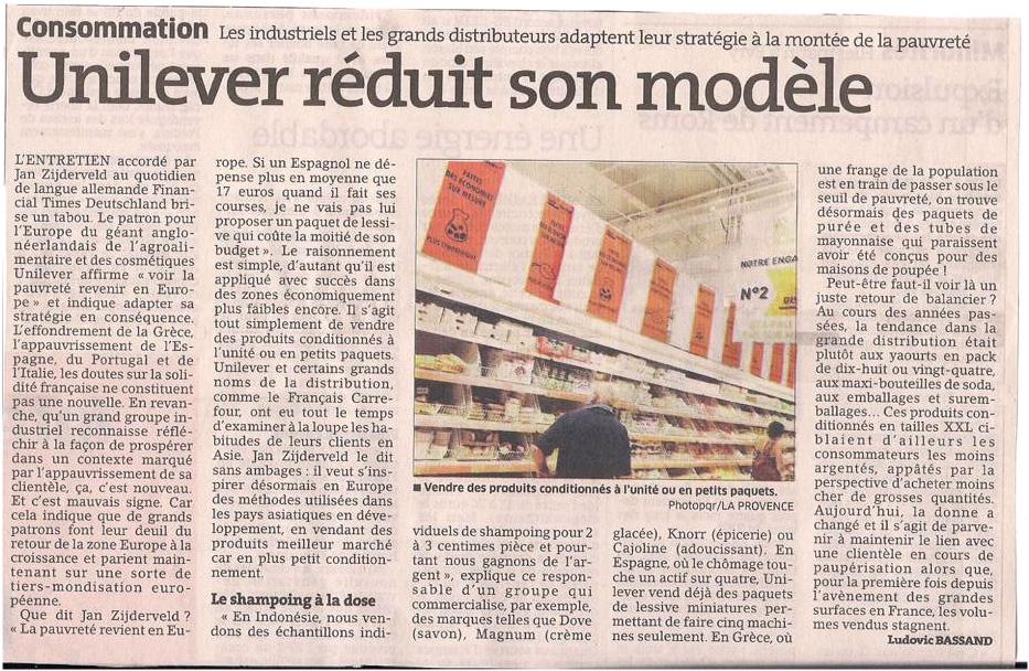 La fin de la société de consommation ? dans Coupures de presse ER036-1