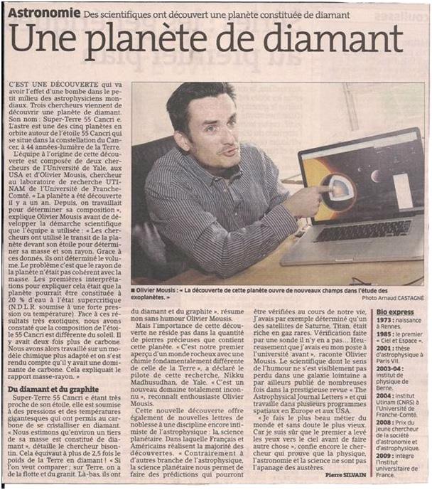 Une planète de diamant dans Coupures de presse er047