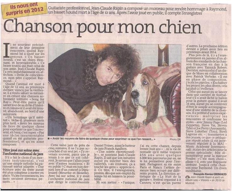 Chanson pour son chien dans Coupures de presse er061