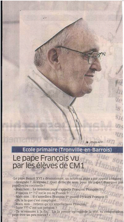 Le pape selon les enfants dans Coupures de presse er12