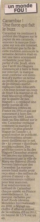 Le carambar dans Coupures de presse er13