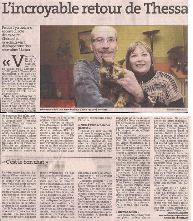 Le retour d'un chat perdu dans Coupures de presse er28