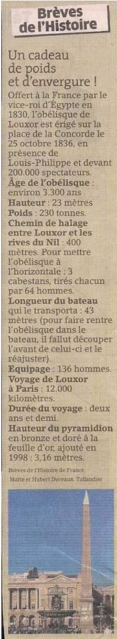 L'obélisque de Louxor dans Coupures de presse er38