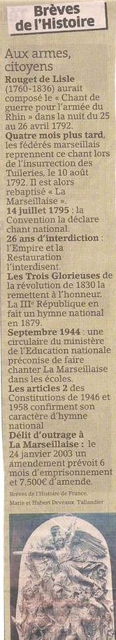 La Marseillaise dans Coupures de presse er43