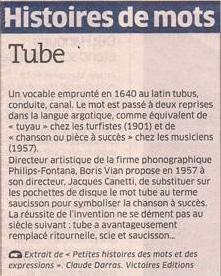 Tube... dans Coupures de presse er46