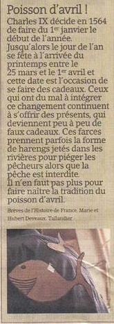 L'origine du poisson d'avril dans Coupures de presse er51