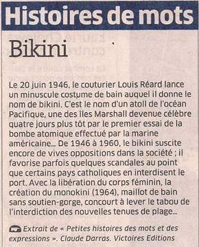 Le bikini dans Coupures de presse er54