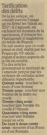 Le tarif des délits selon la loi salique dans Coupures de presse er56