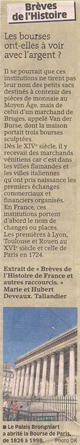 L'origine des bourses... dans Coupures de presse er63