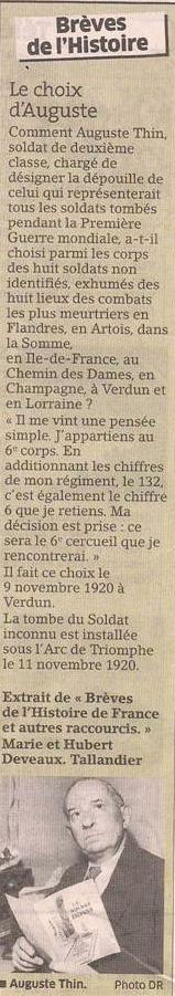 Le choix du soldat inconnu dans Coupures de presse er76