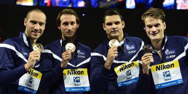 Les nageurs français champions du monde relais4x100-natation-barcelone