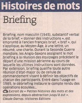 Briefing dans Coupures de presse er103