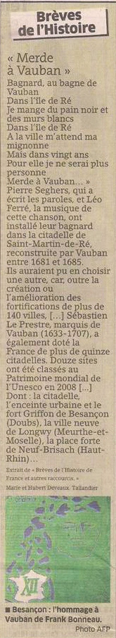 Vauban dans Coupures de presse er105