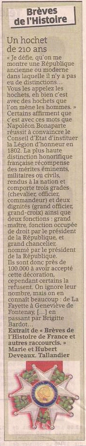 La Légion d'honneur dans Coupures de presse er108