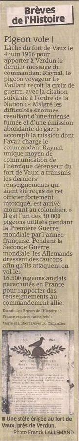 Le pigeon voyageur, héros de guerre dans Coupures de presse er111