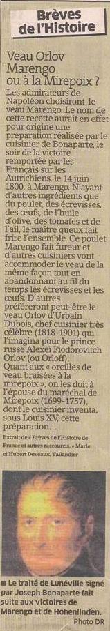 Orlov, Marengo, Mirepoix... spécialités culinaires... dans Coupures de presse er120