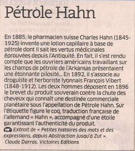 Pétrole Hahn dans Coupures de presse er127