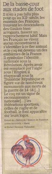 Le coq français dans Coupures de presse er131