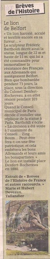 Le Lion de Belfort dans Coupures de presse er77