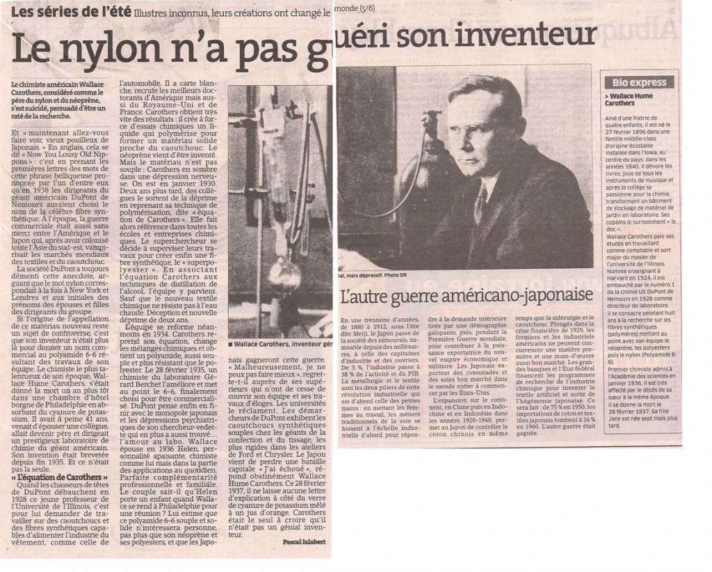 L'inventeur du nylon dans Coupures de presse er801