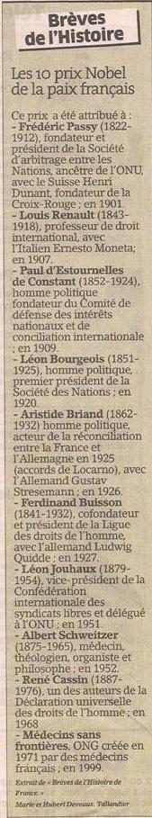 Les Prix Nobel de la paix français dans Coupures de presse er83