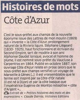 La Côte d'Azur dans Coupures de presse er96