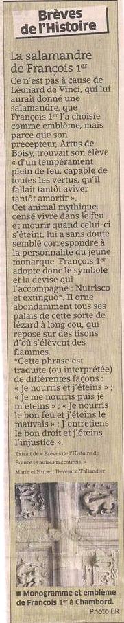 La salamandre de François 1er dans Coupures de presse er98