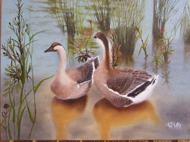 Les oies (huile sur toile) par Monique Colin dans Les peintures de Monique les-oies