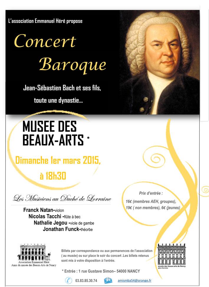 Affiche concert baroque 1er mars 2015 Musée des Beaux Arts