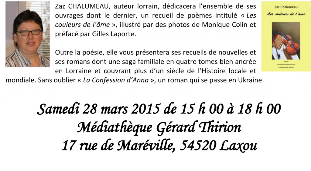 Affiche dédicace médiathèque Laxou mars 2015