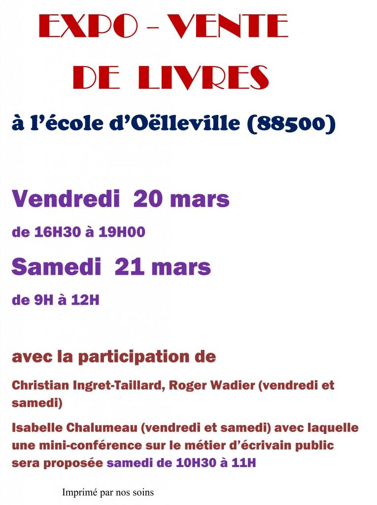 Affiche Oëlleville expo-vente nouveaux horaires