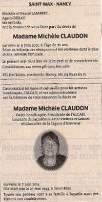 Michèle Claudon avis décès