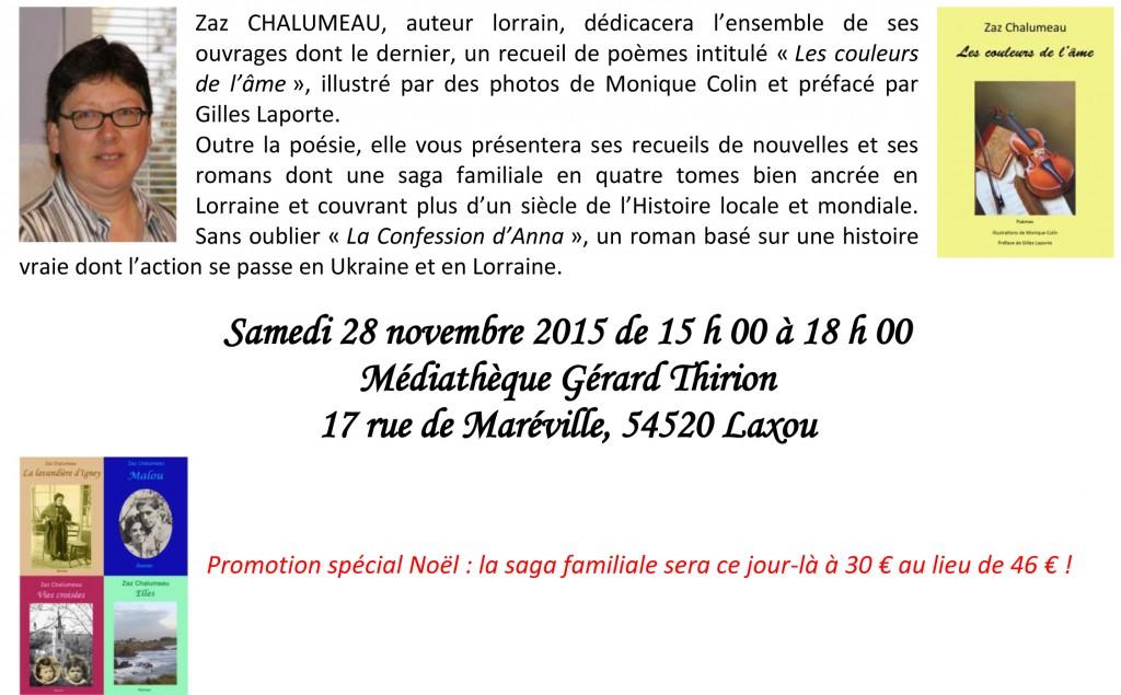 Flyer dédicace médiathèque Laxou novembre 2015